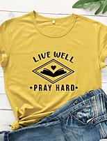 cheap -Women's T-shirt Heart Letter Print Round Neck Tops 100% Cotton Basic Basic Top White Yellow Wine