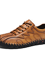 cheap -Men's Oxfords Casual / British Daily Outdoor Walking Shoes Faux Leather Non-slipping Shock Absorbing Light Brown / Black / Khaki Spring / Fall