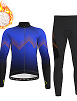 cheap -21Grams Men's Long Sleeve Cycling Jersey with Tights Winter Fleece Polyester Black / Yellow Black Red Gradient Bike Clothing Suit Thermal Warm Fleece Lining Breathable 3D Pad Warm Sports Gradient