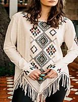 cheap -Women's Blouse Shirt Color Block Long Sleeve Print Tassel Round Neck Tops Loose Cotton Tassel Basic Basic Top White Blue Red