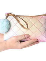cheap -1pc Travel Organizer Cosmetic Bag Travel Toiletry Bag Large Capacity Waterproof Travel Storage Durable Color Gradient Fur Ball PU Leather For Portable Foldable Luggage