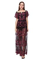 cheap -Sheath / Column Minimalist Boho Holiday Party Wear Dress Scoop Neck Short Sleeve Floor Length Lace with Pattern / Print 2020