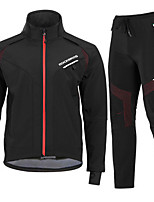 cheap -Men's Women's Long Sleeve Cycling Jacket Cycling Pants Fleece Black Bike Waterproof Fleece Lining Breathable Warm Sports Mountain Bike MTB Road Bike Cycling Clothing Apparel