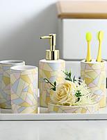 cheap -Bathroom Accessories Set, 5 Piece Ceramic Complete Bathroom Set for Bath Decor, Includes Toothbrush Holder, Soap Dispenser, Soap Dish, 2 Tumblers, Light Yellow