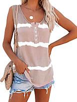 cheap -Women's T-shirt Striped Print Round Neck Tops Sleeveless Loose Basic Basic Top Purple Orange Khaki