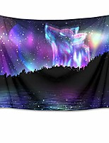 cheap -animal tapestry space tapestry wall hanging wolf in starry sky with jungle and river scenery wall tapestries for bedroom living room dorm decor,92.5wx70.9h inches