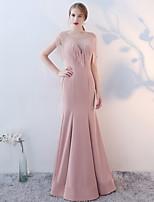 cheap -Mermaid / Trumpet Elegant Minimalist Wedding Guest Formal Evening Dress Illusion Neck Sleeveless Floor Length Spandex with Crystals Tassel 2020