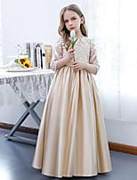 cheap -A-Line Jewel Neck Floor Length Lace / Satin Junior Bridesmaid Dress with Pleats