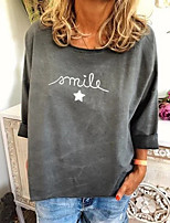 cheap -Women's T-shirt Letter Long Sleeve Print Round Neck Tops Loose Basic Basic Top White Red Green