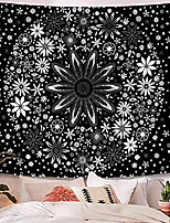 cheap -black and white tapestry wall hanging bohemian,  mandala floral medallion hippie tapestry with white aesthetic wreath design, wall decor blanket for bedroom home dorm