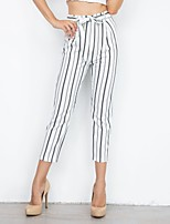 cheap -Women's Basic Daily Chinos Pants Striped Breathable White S M L