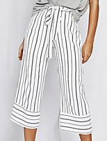 cheap -Women's Basic Daily Wide Leg Pants Striped Breathable White S M L