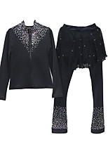 cheap -Figure Skating Jacket with Pants All Ice Skating Pants / Trousers Top Black Glitter Spandex Stretchy Training Skating Wear Warm Handmade Solid Colored Crystal / Rhinestone Long Sleeve Ice Skating