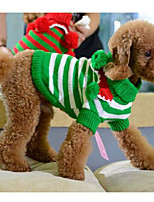 cheap -christmas balls decorated turtleneck dog sweater pet costume for dogs (green+white striped, xxs)