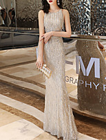 cheap -Mermaid / Trumpet Beautiful Back Sparkle Engagement Formal Evening Dress Jewel Neck Sleeveless Floor Length Spandex Sequined with Sequin 2020