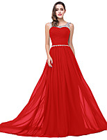 cheap -A-Line Elegant Minimalist Wedding Guest Formal Evening Dress Illusion Neck Sleeveless Sweep / Brush Train Chiffon with Pleats Crystals 2020