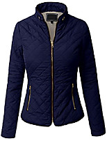 cheap -womens lightweight quilted faux fur lining zip jacket navy