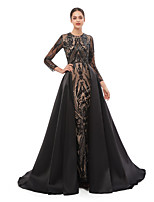 cheap -Mermaid / Trumpet Elegant Luxurious Prom Formal Evening Dress Jewel Neck Long Sleeve Detachable Sequined with Sequin 2020