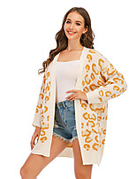 cheap -Women's Basic Long Pocket Knitted Leopard Cheetah Print Cardigan Long Sleeve Sweater Cardigans Open Front Spring Fall Yellow Blushing Pink Khaki