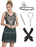 cheap -The Great Gatsby Vintage 1920s Flapper Dress Outfits Masquerade Women's Tassel Fringe Costume Black / Green Vintage Cosplay Party Prom / Gloves / Headwear / Necklace / Cigarette Stick
