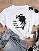cheap -Women's T-shirt Cat Letter Print Round Neck Tops 100% Cotton Basic Basic Top White Black Purple