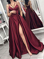 cheap -A-Line Minimalist Sexy Wedding Guest Formal Evening Dress V Neck Sleeveless Floor Length Satin with Split 2020
