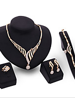 cheap -Women's Clear Synthetic Diamond Bridal Jewelry Sets Heart Simple Basic Elegant Earrings Jewelry Gold For Wedding Engagement 1 set