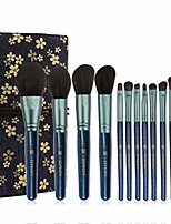 cheap -christmas gift linen printing package makeup brush set with 12 pics & #40;blue& #41;