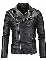 cheap -mens leather jacket causal belted design slim fit lapel collar pu leather biker zipper coat cool black motorcycle jackets (us l (tag xxl))