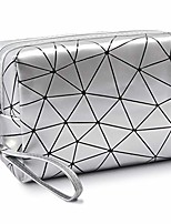 cheap -makeup bags, small travel make up bags for women and girls, portable waterproof cosmetic organizer bag with handle, silver