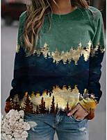 cheap -Women's Blouse Shirt Graphic Prints Long Sleeve Round Neck Tops Basic Basic Top Blue Khaki Green