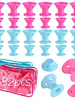 cheap -82 pcs magic hair curlers, including 40 pcs large and 40 pcs small silicone hair rollers no heat with 2 pcs storage bag, diy hair style tools