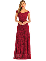 cheap -A-Line Elegant Minimalist Party Wear Formal Evening Dress Off Shoulder Sleeveless Floor Length Lace with Pleats 2020