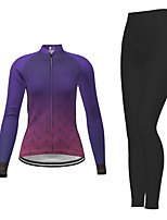 cheap -21Grams Women's Long Sleeve Cycling Jersey with Tights Winter Polyester Purple Gradient Bike Jersey Tights Clothing Suit Breathable Quick Dry Moisture Wicking Back Pocket Sports Gradient Mountain