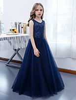 cheap -A-Line Jewel Neck Floor Length Lace / Tulle Junior Bridesmaid Dress with Pleats