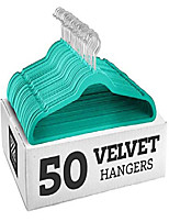 cheap -non-slip velvet hangers, suit hangers (50 pack) ultra thin space saving 360 degree swivel hook strong and durable clothes hangers hold up-to 10 lbs, for coats, jackets, pants, dress (turquoise)