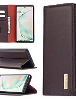 cheap -Case For Samsung Galaxy A01 A21S A21 A31 A41 A51 A71 Note 10 10 Plus 20 20Ultra Galaxy A41 Card Holder Shockproof with Stand Full Body Cases Solid Colored Genuine Leather TPU