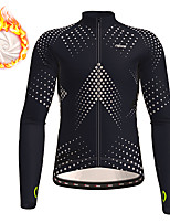 cheap -21Grams Men's Long Sleeve Cycling Jersey Winter Fleece Polyester Black Gradient Geometic Bike Jersey Top Mountain Bike MTB Road Bike Cycling Thermal Warm Fleece Lining Breathable Sports Clothing
