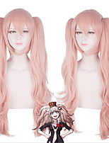 cheap -Dangan Ronpa Enoshima Junko Cosplay Wigs Women's With 2 Ponytails 30 inch Heat Resistant Fiber Curly Pink Teen Adults' Anime Wig