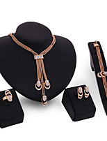 cheap -Women's Clear Synthetic Diamond Bridal Jewelry Sets Geometrical Simple Basic Elegant Earrings Jewelry Gold For Wedding Engagement 1 set