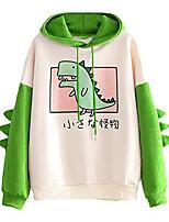 cheap -women's teen girls cute dinosaur long sleeve hoodies casual loose sweaters hooded sweatshirts pullover tops shirts green