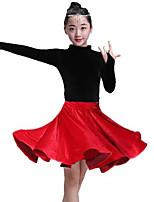 cheap -Latin Dance Skirts Side Draping Ruching Solid Girls' Training Performance Long Sleeve Pleuche
