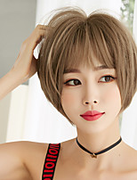cheap -Synthetic Wig kinky Straight Bob With Bangs Wig Short Light Brown Brown Black Synthetic Hair 10 inch Women's Classic Exquisite Comfy Black Light Brown