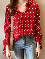 cheap -Women's Work Plus Size Blouse Shirt Polka Dot Long Sleeve Knotted Shirt Collar Tops Loose Chiffon Vintage Streetwear Basic Top White Red Navy Blue