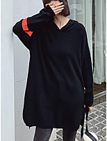 cheap -Women's Daily Pullover Hoodie Sweatshirt Striped Solid Color Plain Oversized V Neck Casual Streetwear Hoodies Sweatshirts  Loose Black Royal Blue