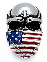 cheap -men's stainless steel band ring american flag mask skull biker (us size 10)