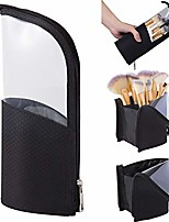 cheap -portable makeup brush holder,travelling cosmetics make up cup storage organizer,foundation brushes bag case, clear waterproof stand-up small toiletry stationery bag with divider,navy blue