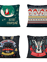 cheap -1 Set of 4 pcs Christmas Series Decorative Linen Throw Pillow Cover for Christmas Gift Home Decoration,18 x 18 inches 45 x 45 cm