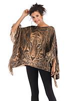 cheap -Women's Basic Knitted Tassel Animal Cloak / Capes Half Sleeve Sweater Cardigans Crew Neck Round Neck Fall Winter Khaki