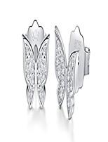cheap -18k gold plated sterling silver stud earrings, boruo cubic zirconia butterfly earrings